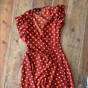 Vici Dresses - Vici polka dot dress rust red color